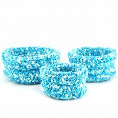 Bisofa - Paniers en laine blanc et bleu 1