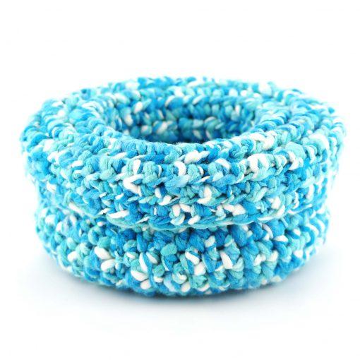 Bisofa – Paniers en laine blanc et bleu 3