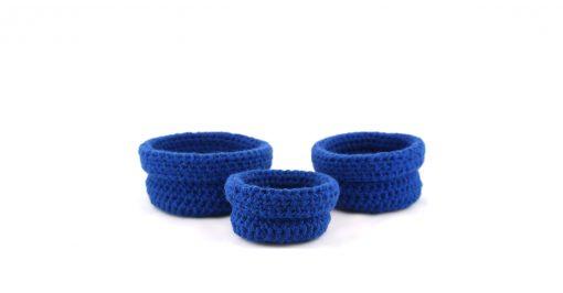 Bisofa Paniers en laine bleu foncé
