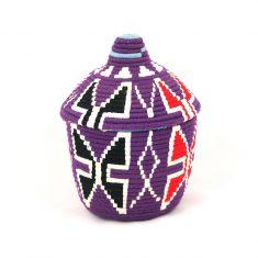 panier berbère violet panier laine violet panier marocain violet panier sahara violet