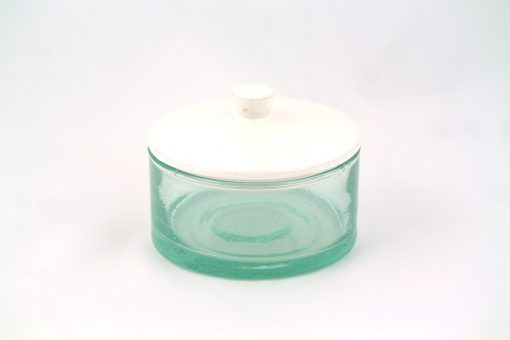 Grand pot marocain verre soufflé recyclé couvercle argile handmade