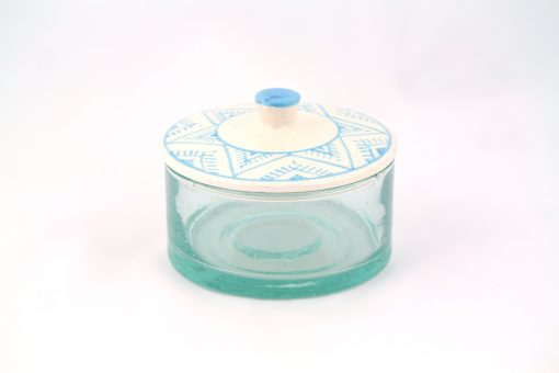 Grand pot marocain bleu turquoise motifs berbère verre céramique marocain maroc