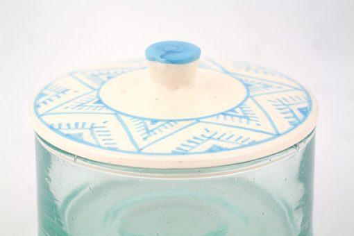 Grand pot marocain verre recyclé argile motif berbère traditionnel berbère artisanat