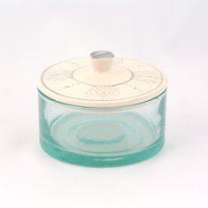 Grand pot marocain verre céramique gris motifs berbères artisanal fait-main
