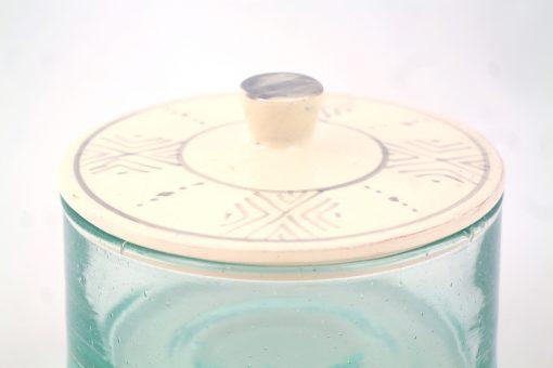 Grand pot marocain verre soufflé céramique argile Ourika fait-main handmade gris