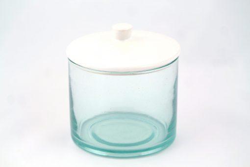 Babeldi – Grand pot en verre marocain à couvercle céramique XL Blanc