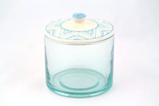 Babeldi – Grand pot en verre marocain à couvercle céramique XL Bleu