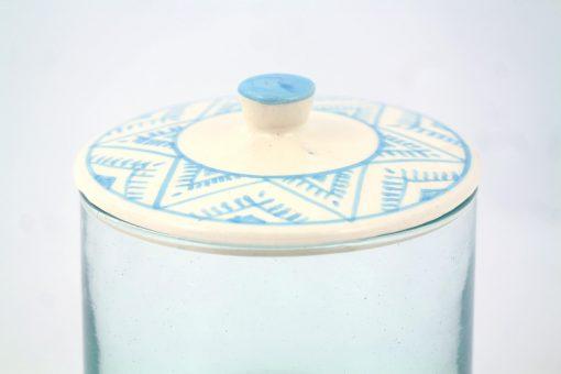 Babeldi – Grand pot en verre marocain à couvercle céramique XL Bleu Détail
