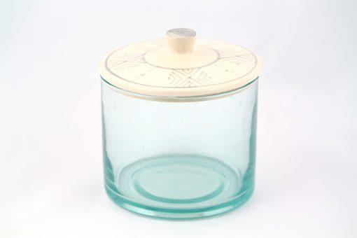 Babeldi – Grand pot en verre marocain à couvercle céramique XL Gris