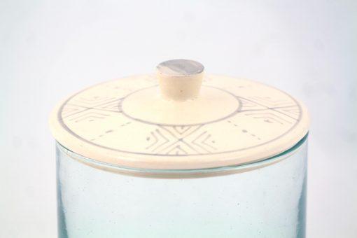 Babeldi – Grand pot en verre marocain à couvercle céramique XL Gris Détail