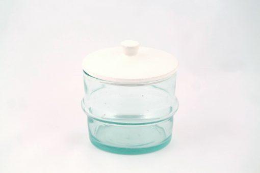 Babeldi – Grand pot en verre beldi à couvercle céramique XL Blanc