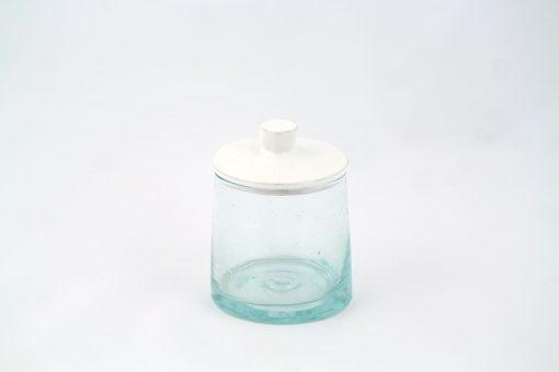 Petit pot en verre blanc artisanal uni simple élégant