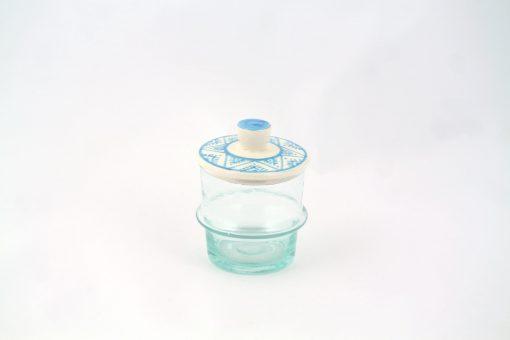Babeldi – Petit pot en verre beldi à couvercle XS Bleu