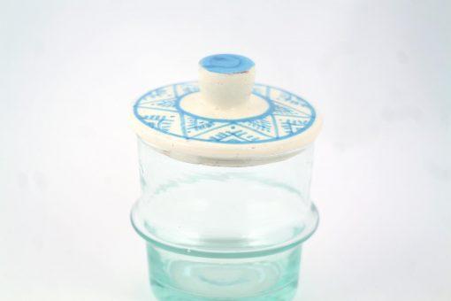 Babeldi – Petit pot en verre beldi à couvercle XS Bleu Détail