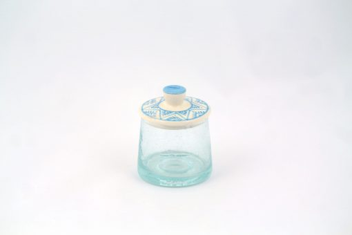 petit verre marocain small jar glass clay cover blue berber moroccan patterns