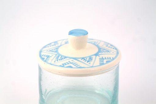 Pot à couvercle marocain bleu turquoise motif berbère
