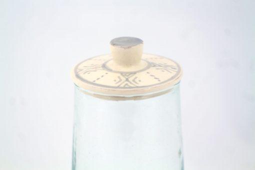 Babeldi – Pot en verre marocain à couvercle céramique Haut Gris Détail