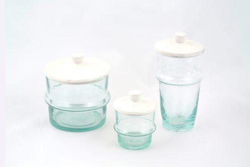 Babeldi – Ensemble de verres beldi marocains à couvercle céramique blanc