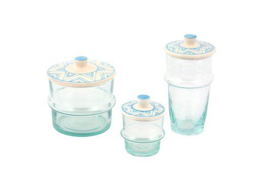 Babeldi – Ensemble de verres beldi marocains à couvercle céramique bleu