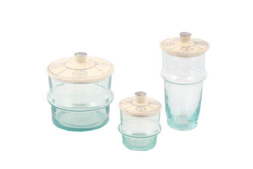 Babeldi – Ensemble de verres beldi marocains à couvercle céramique gris