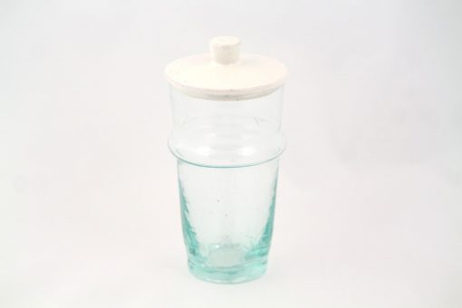 Verre beldi à couvercle céramique pot hauteur verre argile blanc uni simple design chic tendance