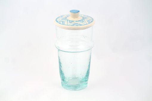 Verre beldi à couvercle verre argile céramique peinture bleu turquoise peinture motif traditionnel maroc