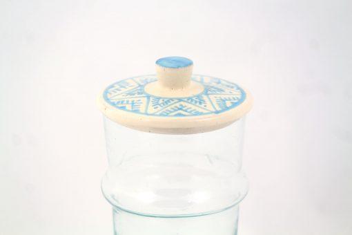 Verre beldi à couvercle céramique argile motifs berbères bleu turquoise