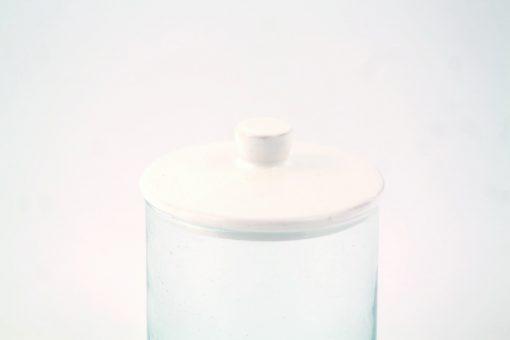 Babeldi – Pot en verre marocain à couvercle céramique L Blanc Détail