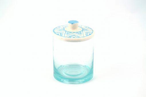 Babeldi – Pot en verre marocain à couvercle céramique L Bleu