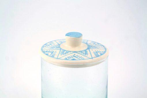 Babeldi – Pot en verre marocain à couvercle céramique L Bleu Détail