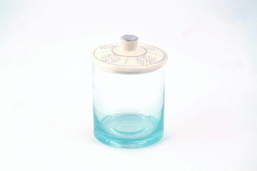 Babeldi – Pot en verre marocain à couvercle céramique L Gris