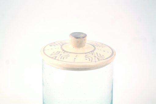 Babeldi – Pot en verre marocain à couvercle céramique L Gris Détail