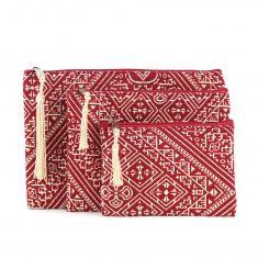 Pochette marocaine pochette orientale rouge pompon soie doré trousse pompon soie rouge pochette berbère pochette rouge pochette pompon trousses marocaines brodées rouge trousse brodée trousses noires trousse marocaine rouge pochette de soirée brodée rouge