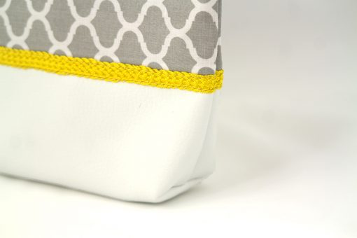 pochette orientale grise soufflet passementerie soie sabra jaune cuir simili zellij