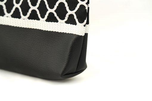 pochette orientale noire soufflet passementerie soie sabra jaune cuir simili zellij motif oriental