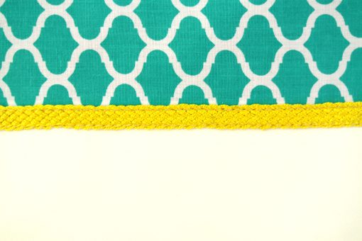 Gilda – Pochette orientale verte turquoise – Passementerie jaune