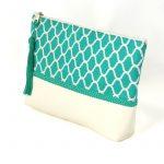 Gilda – Pochette orientale verte turquoise – Passementerie turquoise