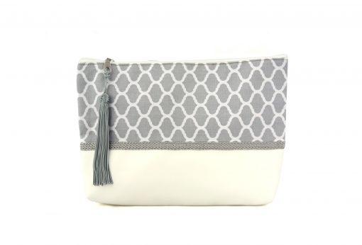 pochette orientale grise trousse motif zellige passementerie sabra soie gris boho