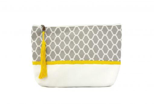 pochette orientale grise trousse motif zellige passementerie sabra soie jaune boho