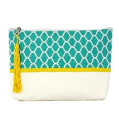 pochette verte turquoise bleu zellige pattern yellow trimmings handicraft morocco clutch boho