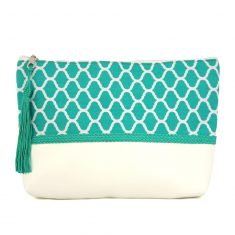 pochette bleue turquoise vert zellige pattern trimmings handicraft morocco clutch boho arabic