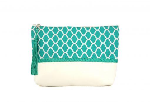 pochette bleue turquoise vert zellige pattern trimmings handicraft morocco clutch boho arabic