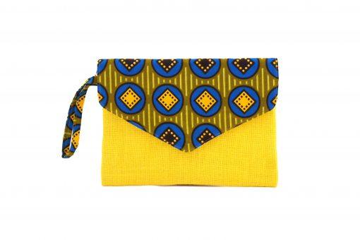 pochette wax bleu pochette africaine wax jute pochette jute