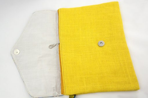 pochette wax jaune pochette africaine wax jute pochette jute