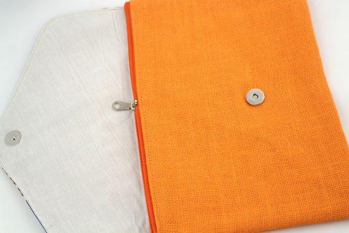pochette wax orange pochette africaine wax jute pochette jute