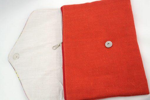 pochette wax rouge pochette africaine wax jute pochette jute