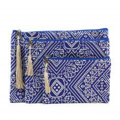 El Fassia trousses marocaines brodées bleu tarz fassi pochette zip pompon soie