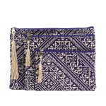 El Fassia – Trio de pochettes marocaines brodées violettes
