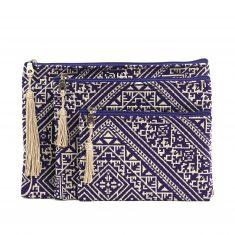 El fassia ensemble trois trousses marocaines brodées violettes