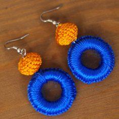 créoles marocaines orange créoles boho bleu boucles d'oreilles tissu boucles d'oreilles maroc bleu boucles d'oreilles pompon bleu boucles d'oreilles orientales boucles d'oreilles marocaines bleu bloucles d'oreilles passementerie